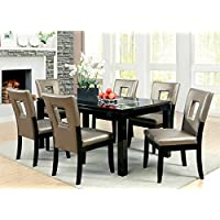 7 pc Evant I collection contemporary style black finish wood dining table set with mirrored center insert