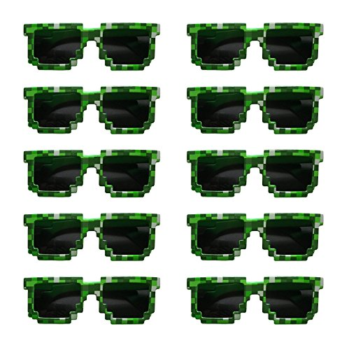Pixels Make Perfect 8-Bit Pixelated Sunglasses Birthday Party Favors, Set of 10 Pairs (Party Minecraft)
