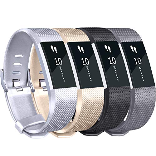 Tobfit Sport Silicone Bands Compatible for Fitbit Charge 2 Classic & Special Edition, 4 Pack, Black/Champagne/Silver/Grey, Large