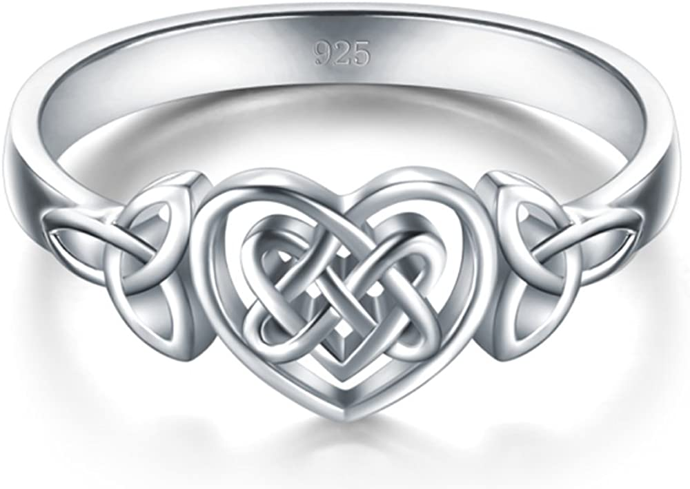 BORUO 925 Sterling Silver Ring Celtic Knot Heart High Polish Tarnish Resistant Eternity Wedding Band Stackable Ring Size H-Y