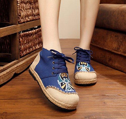 Scarpe Da Donna Di Alta Qualità Con Lacci Ricamati In Lino E Pizzo Blu