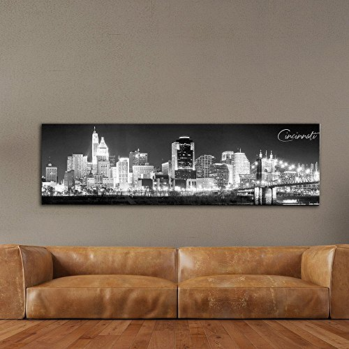 WallsThatSpeak Panoramic Cincinnati Cityscape Picture, Black and White Stretched Canvas Art Prints, Wall Decoration for Bedroom or Office, Framed and Ready to Hang, 14