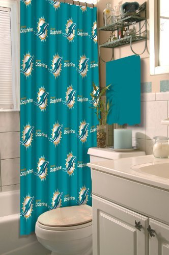 Northwest NOR-1NFL903000010RET Miami NFL 903 Dolphins Shower Curtain