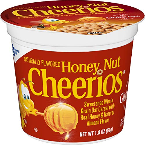 - Honey Nut Cheerios Cereal Cup, Gluten Free Cereal, 1.8 oz (Pack of 12)