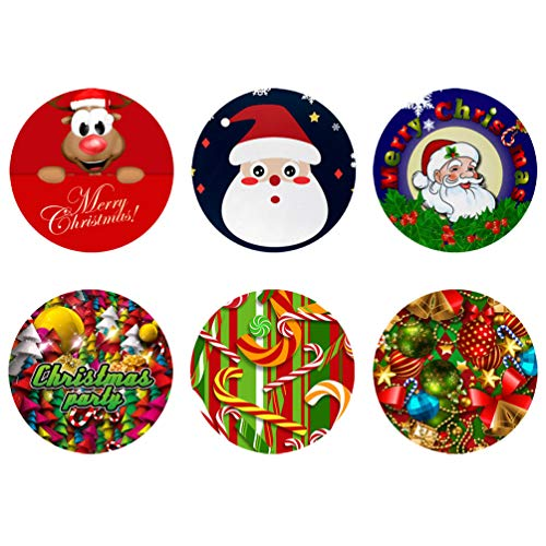 Coloranimal Coasters for Drink Set of 6, Merry Christmas Santa Claus Lollipop Bell Design Round Coaster-Desktop Protection Prevent Furniture from Water Mark & Damage Gifts