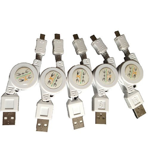 Micro USB to USB Retractable Sync Charger Cable (5pcs) (White) ()