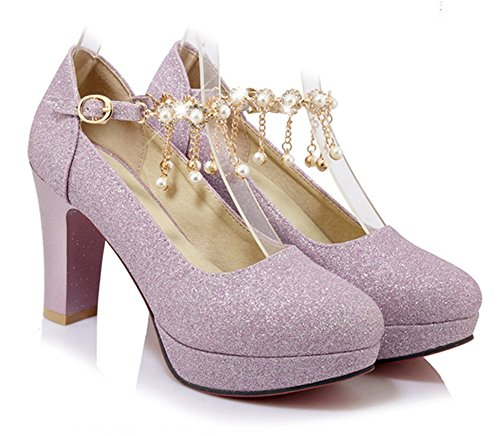 Round Pink Easemax Strap Chunky Rhinestone Toe Buckle Platform High Shoes Heel Womens Pumps Stylish BFqFOn4t