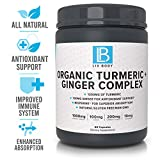 LIV Body   LIV Organic Turmeric + Ginger Complex   1000mg of Organic Tumeric   Anti Inflammaory and Natural Antioxidant Support   60 Veggie Capsules   Bioprene for Absorption