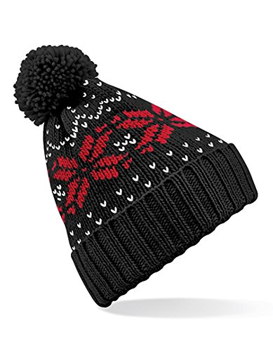 Beechfield Unisex Fair Isle Snowstar Winter Beanie Hat (Black / Classic Red / White)