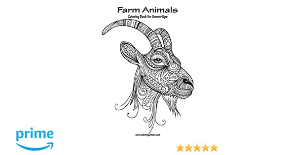 Amazon.com: Farm Animals Coloring Book for Grown-Ups 1 (Volume 3 ...