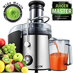 Aicok Juicer Wide Mouth Juice Extractor 1000 Watt Centrifugal Juicer Machine Powerful Whole Fruit and Vegetable Juicer…