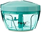 Pigeon India New Handy Mini Chopper with 3 Blades, Hand Manual Machine as Seen on TV, Veggie Food Dicer with TRIPLE Blade, Green