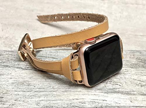 Rose Gold Jewelry & Tan Leather Bracelet for Apple Watch 38mm 40mm 42mm 44mm All Series Handmade Double Wrap Apple iWatch Band Women Adjustable Size Apple Watch Bracelet ()
