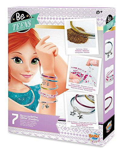 Buki Girls Glitter Bead Bracelet Necklace Jewelry Making Craft Kit Makes 7 Pieces