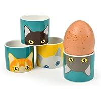 Burgon & Ball Creaturewares GCR/Eggcat Doris 'Cat Lot de 4coquetiers en Porcelaine Fine