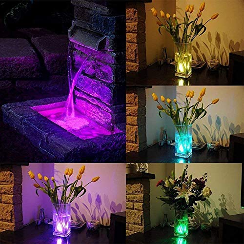 Kellegour Submersible Led Lights, Submersible Waterproof RGB Change Remote Controlled Submersible Led Lights for Pond Pool Fountain Aquarium Vase Hot Tub Bathtub Fish Tank Party Halloween (4 Pack)