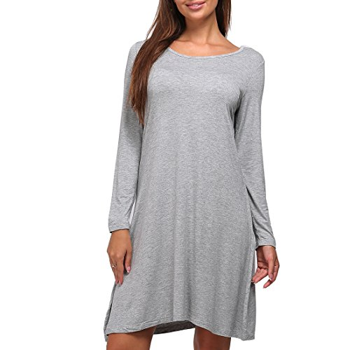 cc4ca8adee7cd ShiZiBan Plus Size Women's Casual Swing Loose Fit Comfy Flattering Tunic  Tops.Flare Long Sleeve