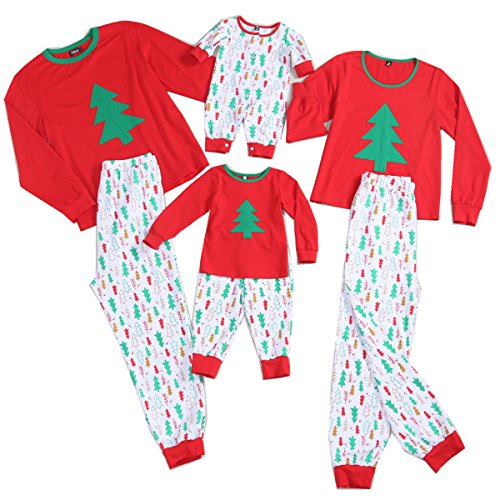 PopReal Christmas Tree Prints Family Matching Clothes Long Sleeve and Pants Pajamas Set (Matching Holiday Pajamas)