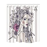 NYMB Stroke Sex Girl Full wiith Flowers and Butterfly Shower Curtain, Mildew Resistant Polyester Fabric Bathroom Decorations, Bath Curtains Hooks Included, 69X70 inches, (Multi16)