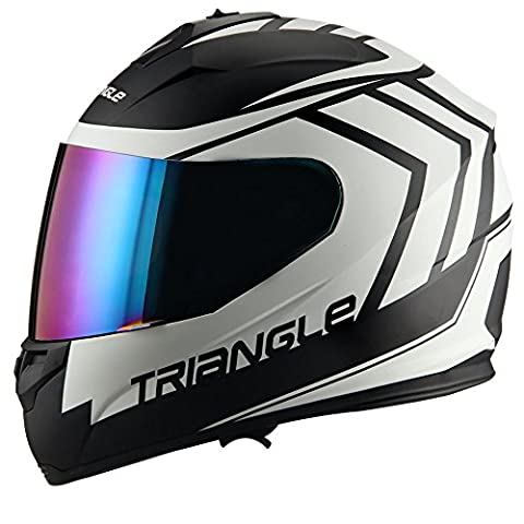Triangle motorcycle full face dual Visor helmets (Medium, Matte Black/white) - White Full Face Helmet