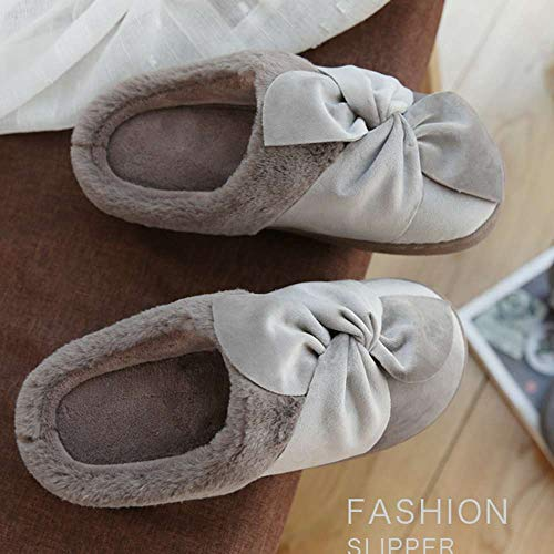 Slippers 7 Indoor Slippers Khaki Bow Shoes House Outdoor Womens Velvet Cozy qIwnPT