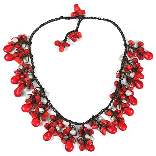 (AeraVida Clusters Teardrop Reconstructed Red Coral and Cultured Freshwater White Pearl Necklace)