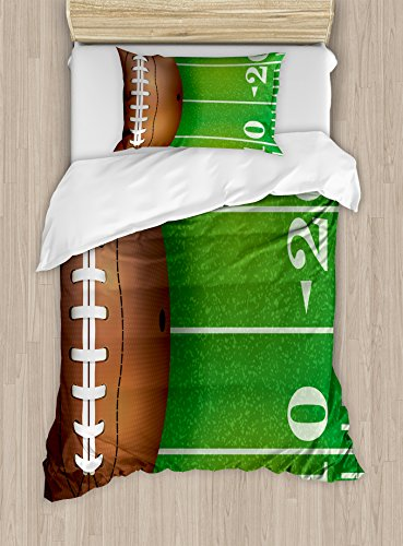 (Lunarable Sports Duvet Cover Set, American Football Field and Ball Realistic Vivid Illustration College, Decorative 2 Piece Bedding Set with 1 Pillow Sham, Twin Size, Green Brown)
