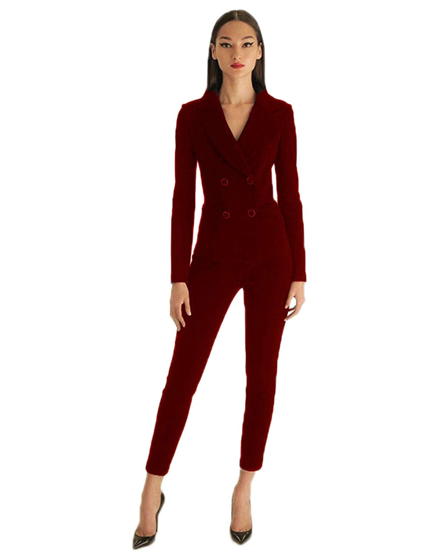 2af934d8c96 Lilis Women's Suits Slim 2 Pieces Blazer Double Breasted Tuxedo Pants &  Jacket Set: Amazon.ca: Clothing & Accessories