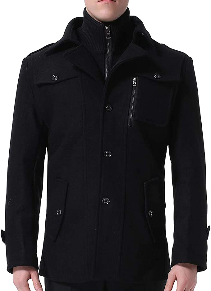 Kurze Hochwertige Jacke Stehkragen und Materialqualität Herren YOUTHUP mit Wintermantel yNwvmn80PO