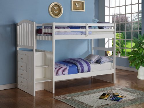 White Mission Style Staircase Bunk Bed with Built in Storage Drawers Twin Full
