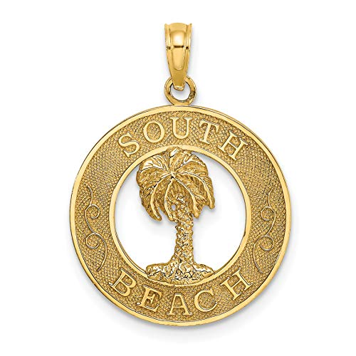 14k Yellow Gold South Beach Words with Palm Tree in Round Dime Size Pendant 18x18mm (Lincoln Beach, Florida)