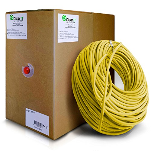 GearIT 1000 Feet Bulk Cat6 Ethernet Cable - Cat 6e 550Mhz 24AWG Full Copper Wire UTP Pull Box, Yellow