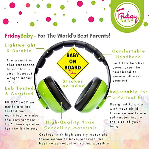 Baby Ear Protection - Comfortable and Adjustable Premium Noise Cancelling Headphones for Babies, Infants, Newborns (0-2+ Years)   Best Baby Headphones Noise Reduction for Concerts, Fireworks & Travels by Friday Baby (Image #1)