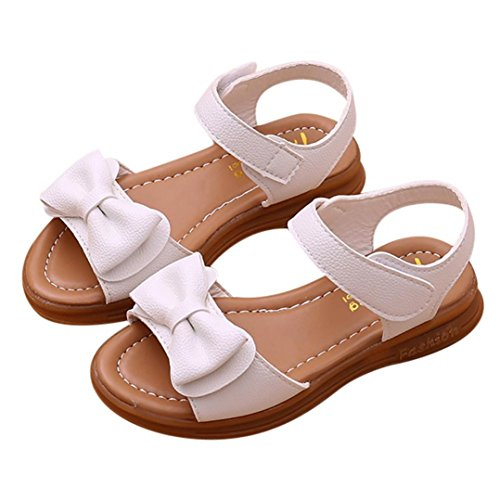 Prevently Kinder Mädchen Sandalen Bowknot Sandalen Rutschfeste Freizeitschuhe Mädchen Schleife Klettverschluss Anti-Rutsch-Prinzessin Schuhe und Hausschuhe Sandalen Weiß