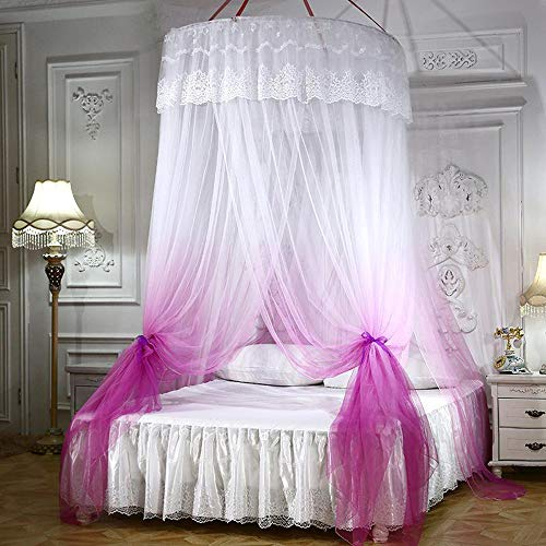 Mengersi Princess Bed Canopy Romantic Round Dome Double Mosquito Net for King Queen Full Twin Size Bed(Round Canopy, Violet and - Romantic Beds Canopy