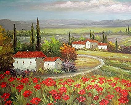 41d532f84fc Image Unavailable. Image not available for. Color  100% Hand Painted Italian  Tuscany Farm Homes Valley Red Poppy Field Canvas ...