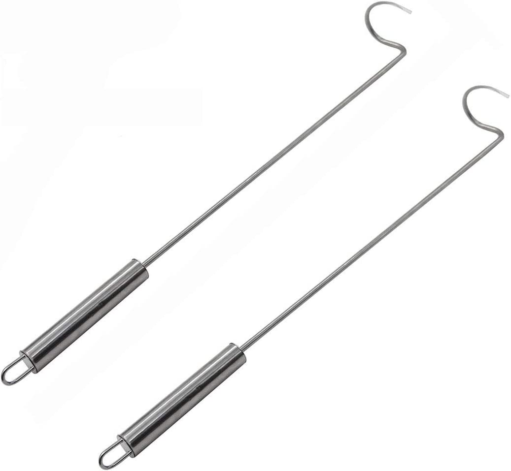Food Flipper Turner Hooks Stainless Steel BBQ Meat Hook Cooking Barbecue Turners Hooks Grill Accessories for BBQ Steak,Tri-Tips, Patties Sausages Ribs Chicken Breast Roasts Bacon Veggies and More