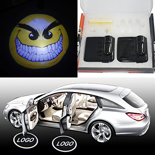 Price comparison product image SHE'O® 2 pcs Funny yellow emotion Angry face Magnetic Wireless car door LED logo projection courtesy welcome shadow ghost light projector lamp Magnet Sensor Powered by battery