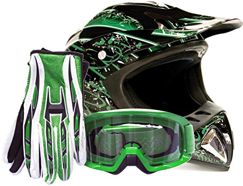 Adult Offroad Helmet Goggles Gloves Gear Combo Green Splatter ( Small ) (Road Mens Off Gloves Women)