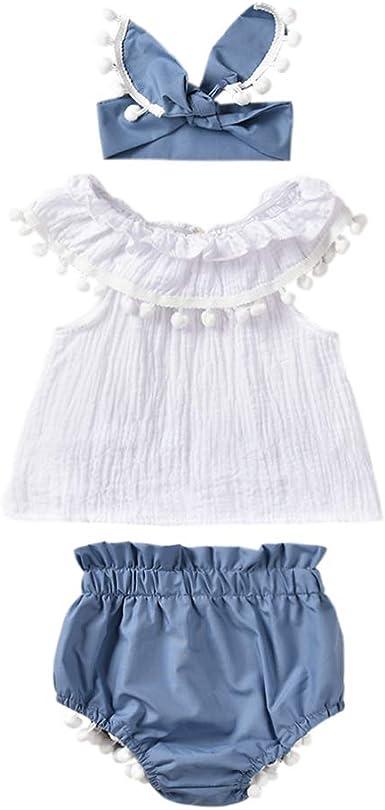 US Summer Newborn Baby Girl Princess Tops Dress+PP Plaids Shorts Clothes 0-24M