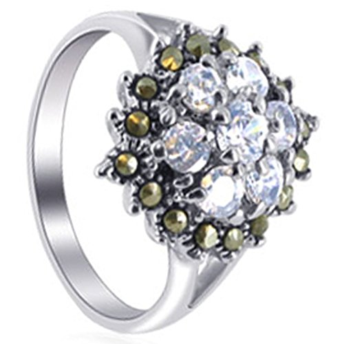 Gem Avenue 925 Sterling Silver Round Cubic Zirconia Marcasite with Accents Flower Ring