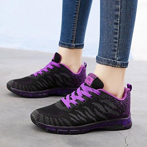 Wealsex Calzado De Running Para Mujer Amortiguamiento Transpirable Deportes Al Aire Libre Correr EN Asfalto Negro y púrpura