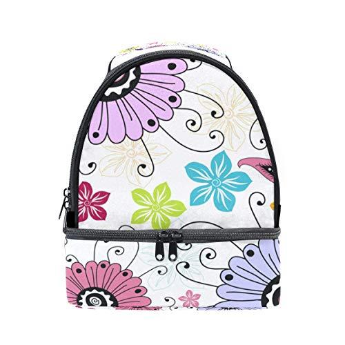 Ajustable Bolso Almuerzo Diseño Picnic Floral Doble Para Con De Correa wawqSU0