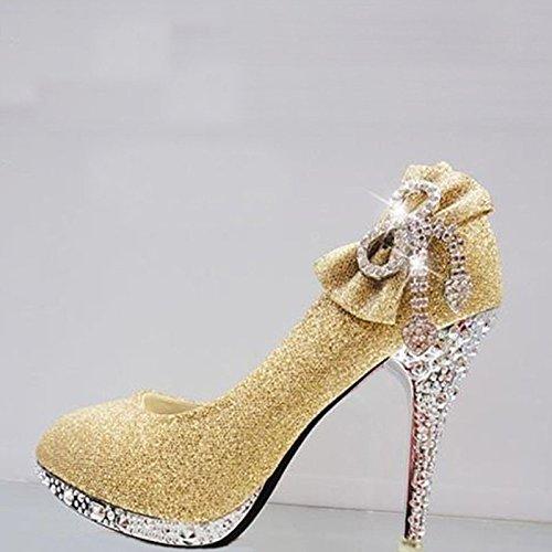 Boda de Plataforma Alto 10cm Angshanxia Novia Vidrio Mujer Diamante Zapatos Tacón Zapatos Black Mujer Zapatos aTxqqwgE1
