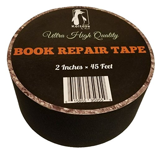 Bookbinding Tape, Black Cloth Book Repair Tape for Bookbinders, 2 Inches by 45 (Tape Spine)