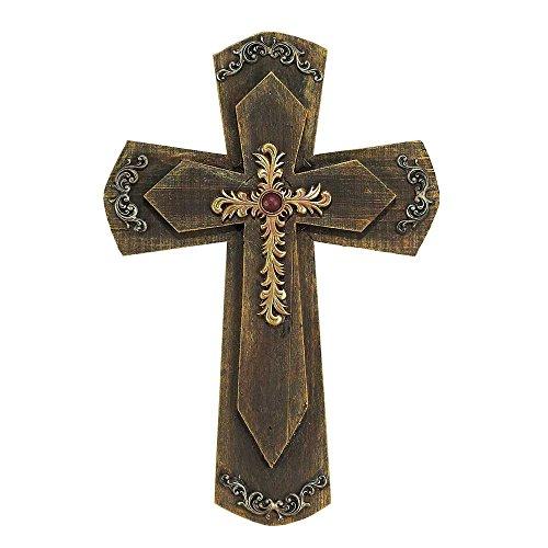 Filigree Distressed Woodgrain 16 Inch Resin Decorative Hanging Wall - Cross Wall Resin