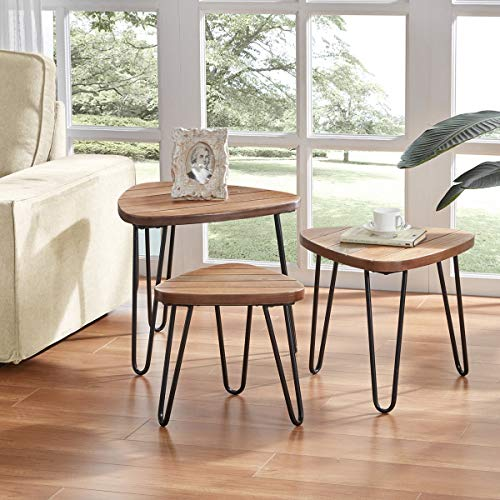 DYH Nesting Tables Set, Industrial Coffee End Table, Metal and Wood Side Table for Living Room, 3 PCS