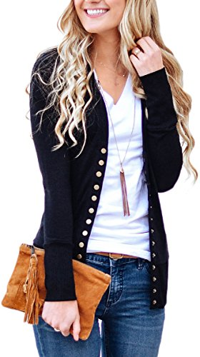 NENONA Women's V-Neck Button Down Knitwear Long Sleeve Soft Basic Knit Cardigan Sweater(Black-L) ()