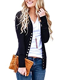 Women s V-Neck Button Down Knitwear Long Sleeve Soft Basic Knit Snap Cardigan  Sweater 85078f257