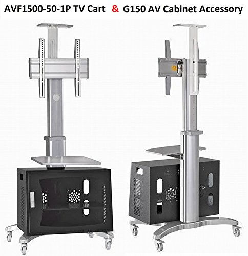 universal aluminum alloy mobile tv cart tv stand avf1500 50 1p slv for led lcd plasma and. Black Bedroom Furniture Sets. Home Design Ideas